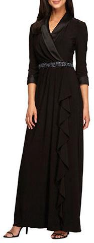 Alex EveningsAlex Evenings Plus Ruched Beaded Waist Dress