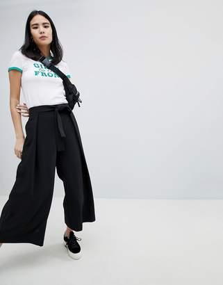 Monki Tie Waist Wide Leg Pants
