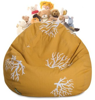 Majestic Home Goods Coral Stuffed Animal Toy Storage Bean Bag Chair with Transparent Mesh Base