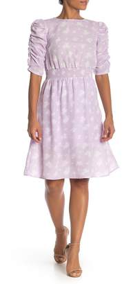 Bobeau Floral Cinch Sleeve Knee Length Dress