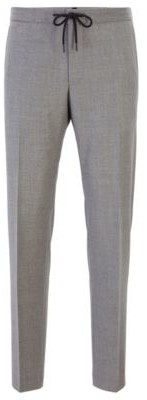 Slim-fit pants in wool with drawstring waistband