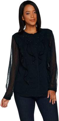 Isaac Mizrahi Live! Clipped Dot Ruffle Button Front Blouse
