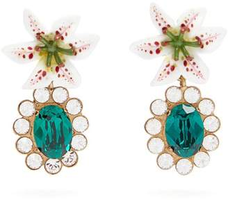 Dolce & Gabbana Crystal Embellished Lily Clip Earrings - Womens - Gold