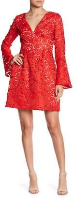 Monique Lhuillier Lazercut Bell Sleeve Fit & Flare Dress