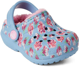 Crocs Toddler/Kids Girls) Chambray Blue & Carnation Classic Lined Clogs