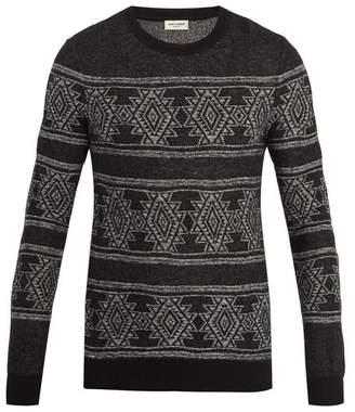 Saint Laurent Geometric Intarsia Knit Sweater - Mens - Black Multi