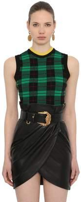 Versace Plaid Wool Blend Knit Sweater Vest