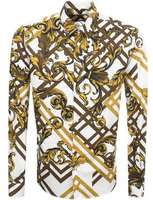 Versace Long Sleeved Printed Shirt White