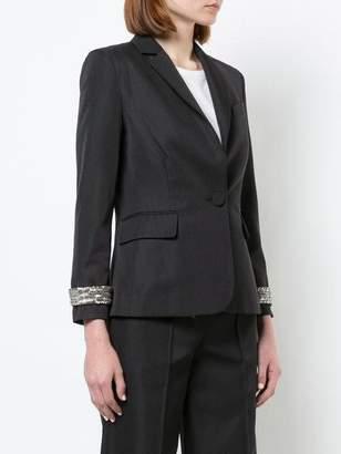 ADAM by Adam Lippes Gabardine Wool Schoolboy Blazer With Detachable Crystal Cuffs