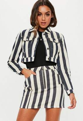 Missguided Petite White Striped Denim Jacket