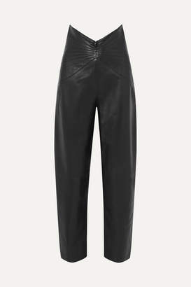 ATTICO Ruched Leather Tapered Pants - Black