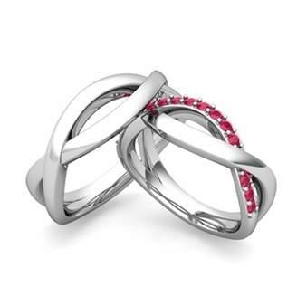 Silvergemking Round Cut Red Ruby His & Her Infinity Love Wedding Ring Set
