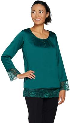 Isaac Mizrahi Live! Satin Blouse with Lace Hem & Cuffs