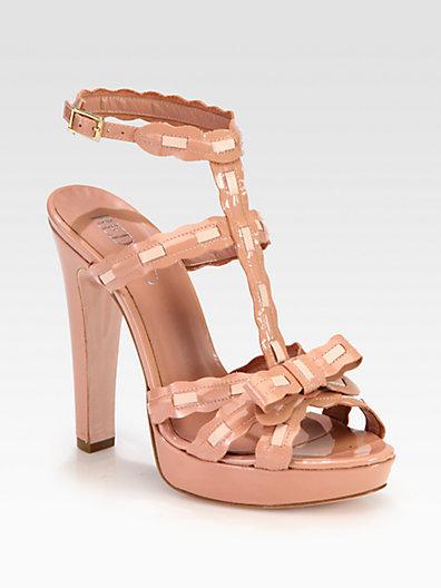 RED Valentino Patent & Leather T-Strap Platform Sandals