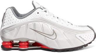 Nike Shox R4 Metallic Leather Sneakers - Silver