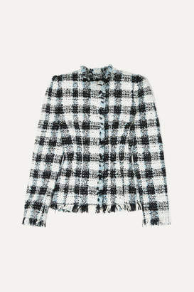 Alexander McQueen Checked Bouclé-tweed Blazer - Blue