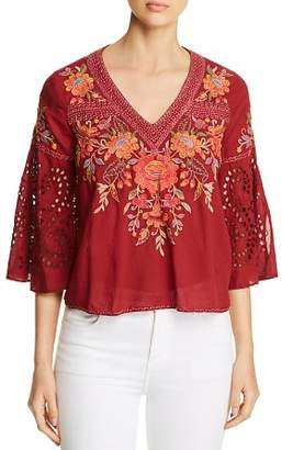 Johnny Was Violette Embroidered Swing Top