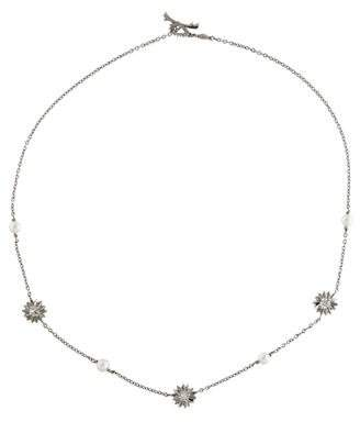 Paul Morelli Platinum Pearl & Diamond Flower Station Necklace