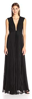Halston Women's Cap Sleeve Deep V-Neck Gown with Pleated Skirt