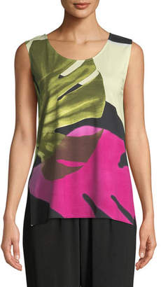 Caroline Rose Palm Leaf Sleeveless Tank, Plus Size