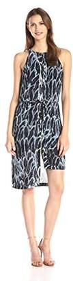 Halston Women's Sleeveless Printed Dress with Tiered Hem,2