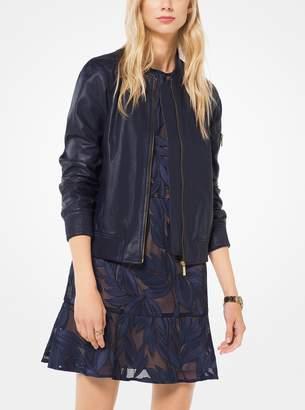 MICHAEL Michael Kors Washed Leather Bomber Jacket