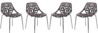 LeisureMod Asbury Open Back Dining Side Chair with Chromed Legs Taupe, Set of 4