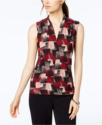 Nine West Printed Inverted Pleat-Neck Shell