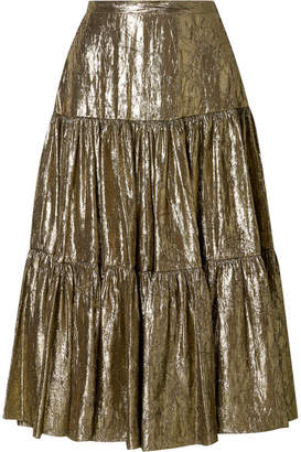Michael Kors Tiered Metallic Silk-blend Lamé Midi Skirt - Gold