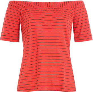 Splendid Striped Top with Bardot Shoulders
