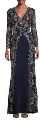 Tadashi Shoji Long Sleeve Scalloped V-neck Gown $588 thestylecure.com