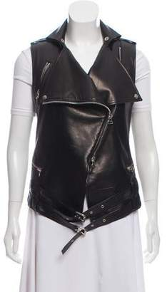 Balmain Leather Moto Vest