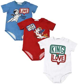 Dolce & Gabbana Set Of 3 Cotton Jersey Bodysuits