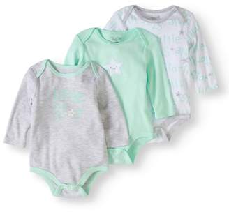 Rene Rofe Newborn Boy or Girl Unisex Long Sleeve Bodysuits, 3-pack