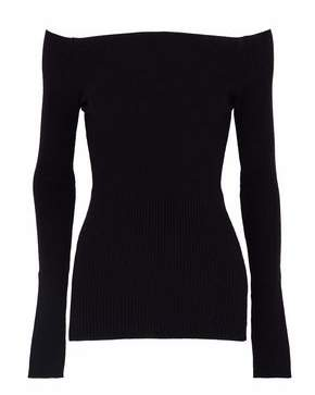 Autumn Cashmere Off-The-Shoulder Ribbed Merino Wool-Blend Sweater