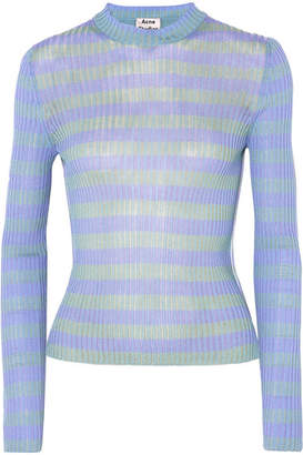 Acne Studios - Rutmar Striped Ribbed Cotton-blend Sweater - Blue