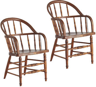 Rejuvenation Pair of Early American Windsor Chairs w/ Pinstriping