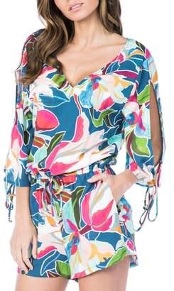 LaBlanca La Blanca Floral Cool Cold Shoulder Cover-Up Romper