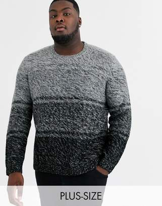 ONLY & SONS ombre crew neck knitted sweater in gray