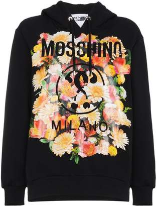 Moschino Cotton hoodie with floral logo motif