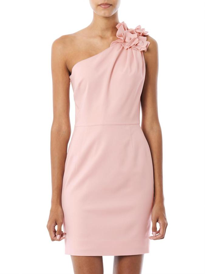 Valentino One-shoulder rose detail fitted dress