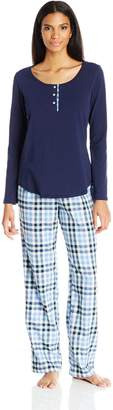 Lucky Brand Women's Contrast Placket Pajama