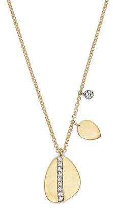 Meira T 14K Yellow Gold Pear Nugget Necklace with Diamonds, 16""