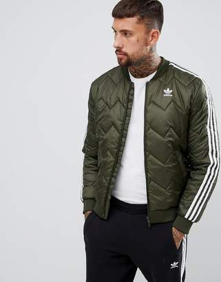 adidas Quilted Superstar Jacket In Green DL8697
