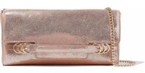Halston Metallic Cracked-Leather Shoulder Bag