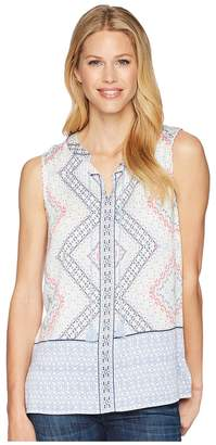 Tribal Printed Sleeveless Blouse with Tassels Women's Blouse