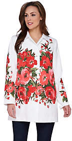 Dennis Basso Water Resistant Placed FloralPrint Jacket
