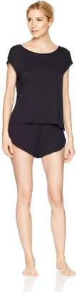 Mae Amazon Brand Women's Sleepwear Curved Trim T Shirt and Short Pajama Set
