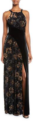 Aidan Mattox Floral Velvet Halter Gown w/ Slit