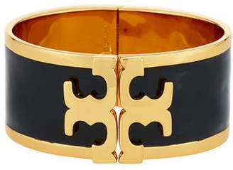 Tory Burch Wide Raised Logo Enamel Cuff Bracelet